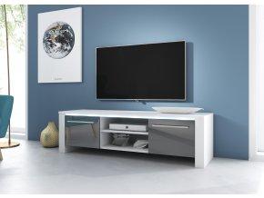 Televizní stolek Manhattan bílý/šedý s LED osvětlením