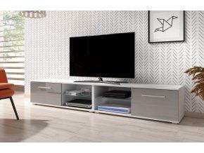 Televizní stolek MOON 200 cm bílá/šedý lesk