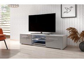 Televizní stolek MOON 140 cm bílá/šedý lesk s LED osvětlením