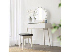 Toaletní stolek s kulatým zrcadlem a osvětlením bílý