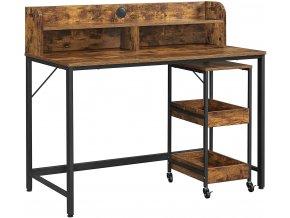 Psací stůl s policemi a vozíkem 118 x 100 x 60 cm