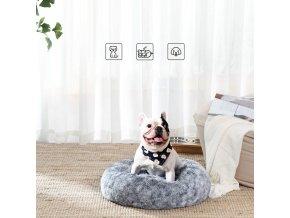 Pelíšek pro psa plyšový kulatý šedý 60 cm