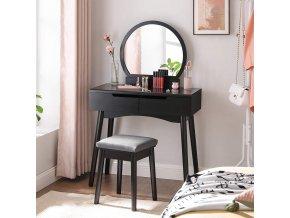 Toaletní stolek s kulatým zrcadlem černý
