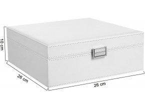 Šperkovnice bílá 2 patra 26 x 10 x 26 cm