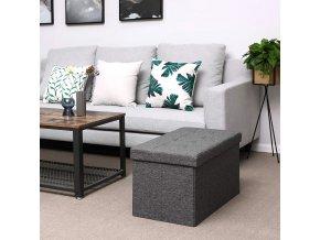 Úložný sedací box čalouněný skládací 76 cm šedý