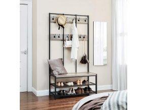 Předsíňový věšák s botníkem světlé dřevo 100 x 184 x 40 cm 3