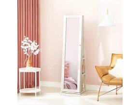 Šperkovnice se zrcadlem a policemi bílé dřevo 2