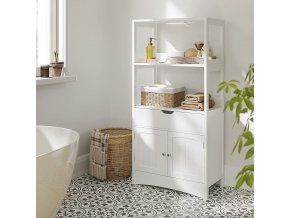 Koupelnový regál se skříňkou bílý 60 x 122 x 32 cm 2