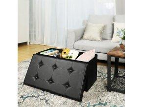 Úložný sedací box čalouněný černý 76 x 38 cm 2
