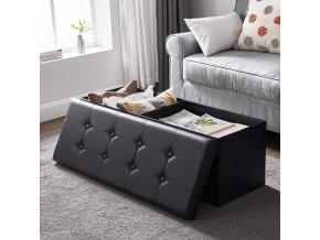 Úložný sedací box čalouněný černý 110 x 38 cm 2