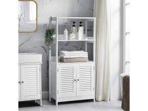 Koupelnový regál se skříňkou bílý 60 x 122 x 33 cm 2