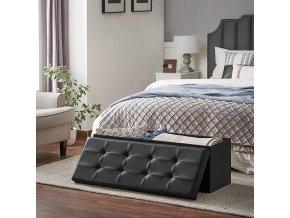 Úložný sedací box čalouněný černý 110 x 38 x38 cm 3