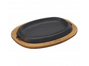 Litinový talíř 12x19 cm s dřevěným podstavcem