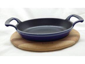 Litinová pánev 19x14 cm s dřevěným podstavcem - modrá