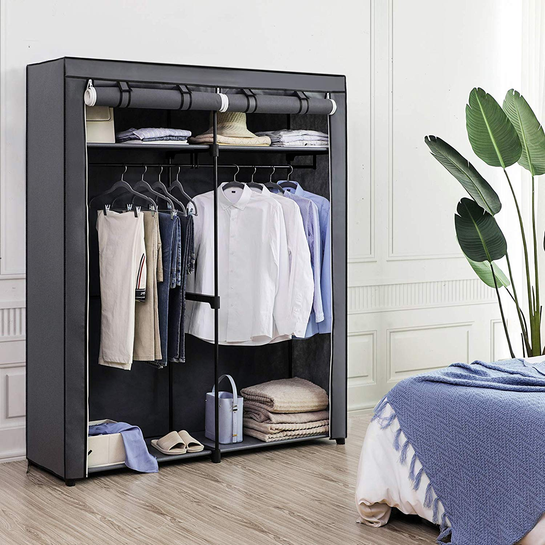 Šatní skříň, látková, šedá, 140x174 cm