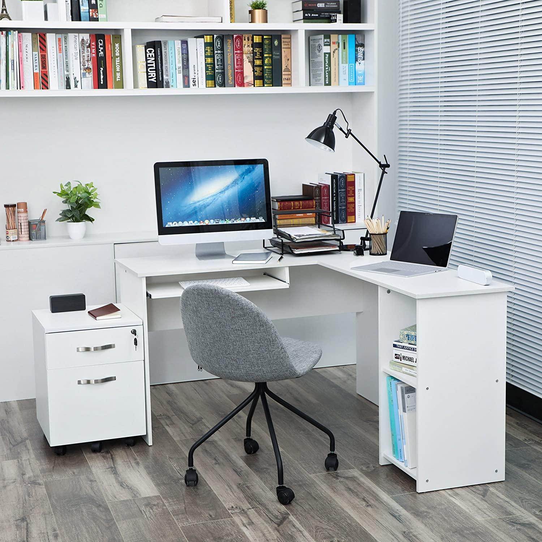 Rohový PC stůl bílý 140x120 cm