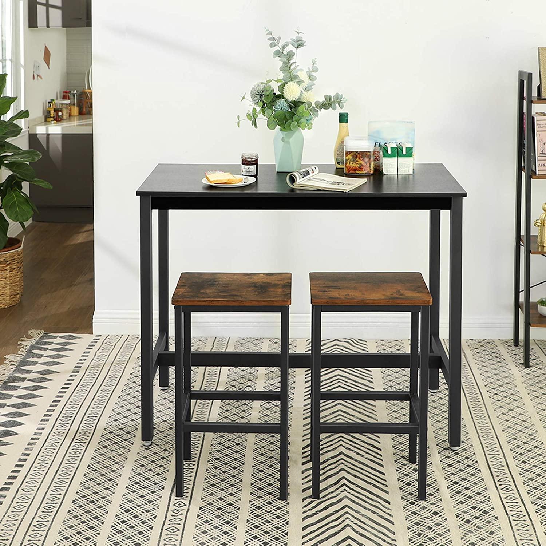 Barový jídelní stůl industriální černý 120 x 60 cm