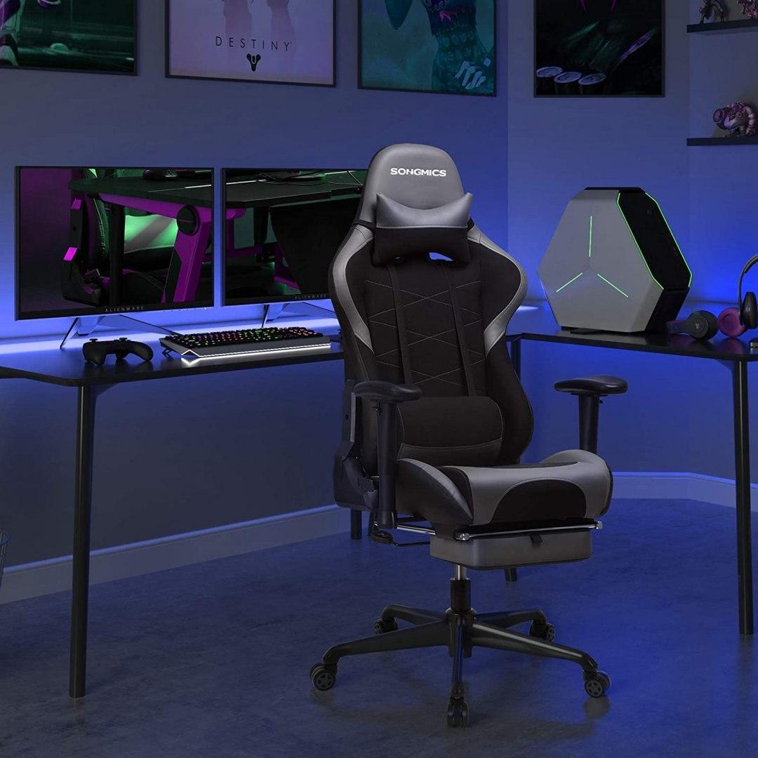 Kancelářské herní křeslo černé šedé