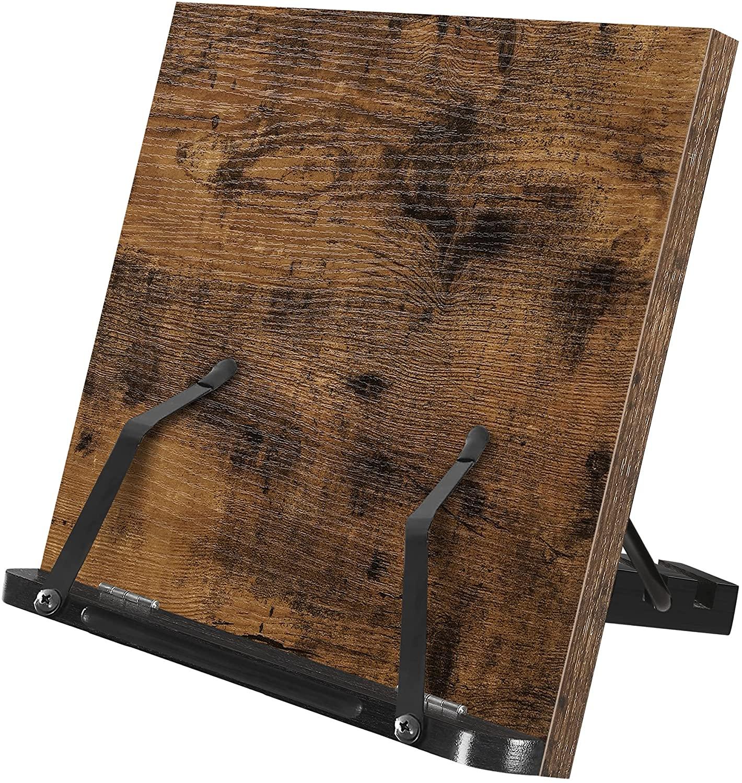Levně Výškově nastavitelný stojan na knihu rustikální hnědý černý