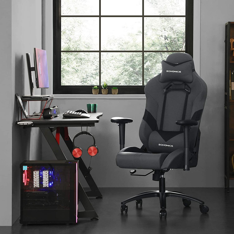 Kancelářské herní křeslo šedé černé