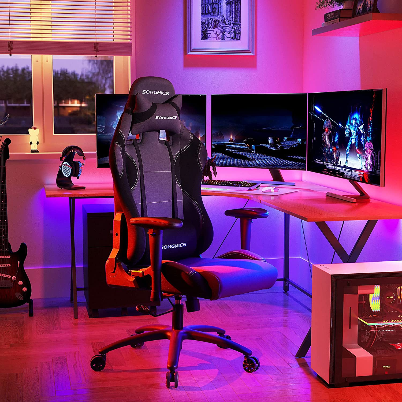 Kancelářské herní křeslo, šedé/černé
