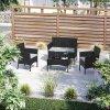 Set zahradního nábytku 3+1 umělý ratan černý