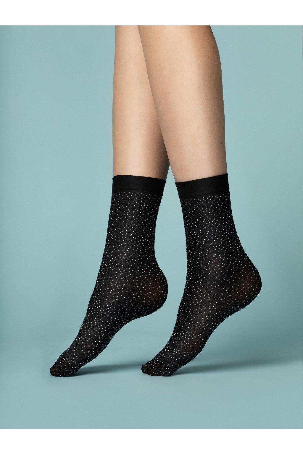 Silonkové ponožky, vzorované ponožky, ponožky cribs, silonky, bodkované (1)