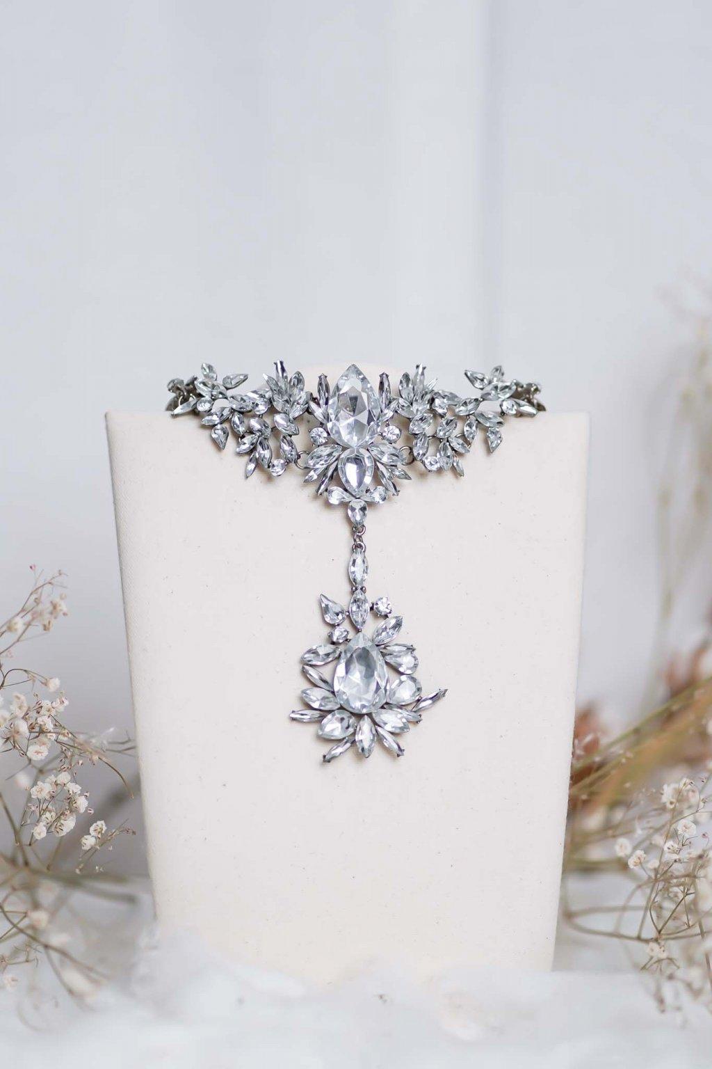 náhrdelník, spoločenský, bežný deň, kamienkový, farebný, čierny, strieborný, zelený, cyklamenévy, náhrdelník, bižuteria, šperk, šperky, ples, stužková, svadba, 099