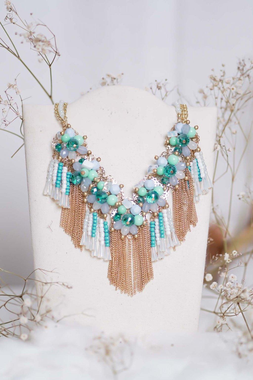 náhrdelník, spoločenský, bežný deň, kamienkový, farebný, čierny, strieborný, zelený, cyklamenévy, náhrdelník, bižuteria, šperk, šperky, ples, stužková, svadba, 046