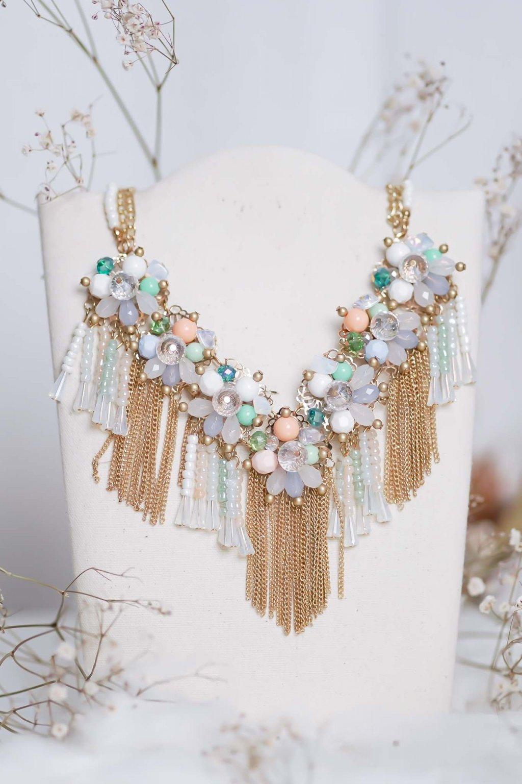 náhrdelník, spoločenský, bežný deň, kamienkový, farebný, čierny, strieborný, zelený, cyklamenévy, náhrdelník, bižuteria, šperk, šperky, ples, stužková, svadba, 049