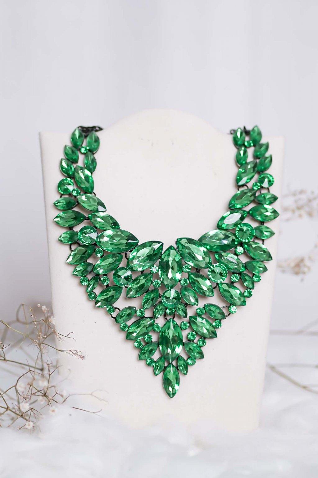 náhrdelník, spoločenský, bežný deň, kamienkový, farebný, čierny, strieborný, zelený, cyklamenévy, náhrdelník, bižuteria, šperk, šperky, ples, stužková, svadba, 006