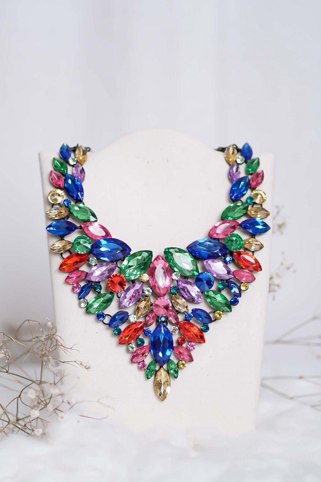 náhrdelník, spoločenský, bežný deň, kamienkový, farebný, čierny, strieborný, zelený, cyklamenévy, náhrdelník, bižuteria, šperk, šperky, ples, stužková, svadba, 012
