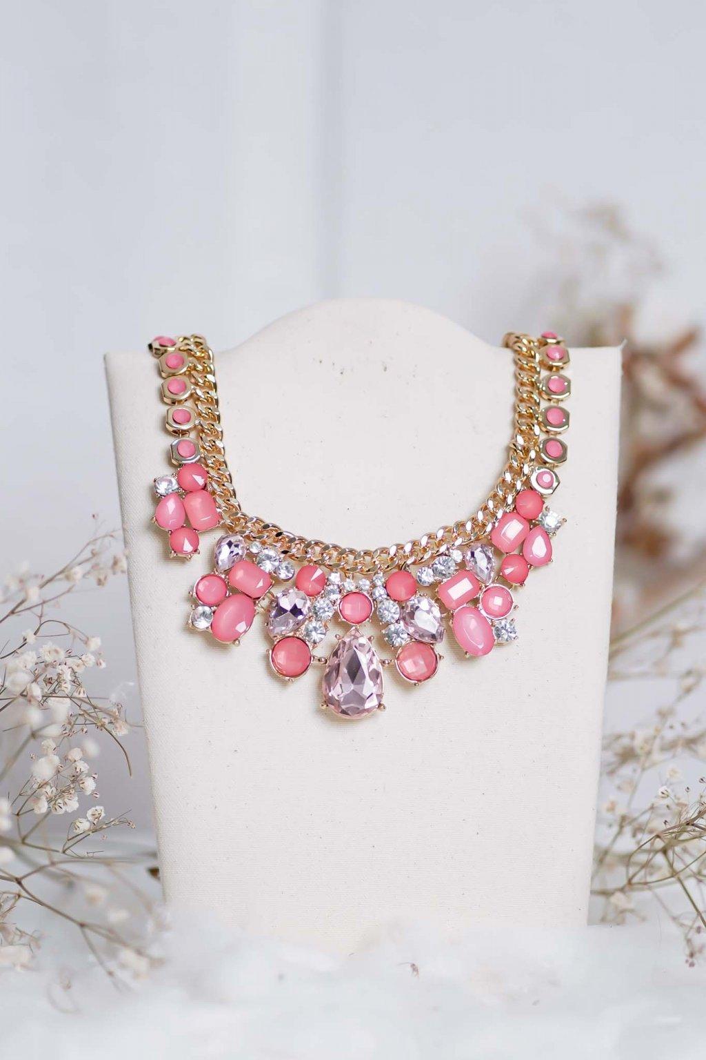 náhrdelník, spoločenský, bežný deň, kamienkový, farebný, čierny, strieborný, zelený, cyklamenévy, náhrdelník, bižuteria, šperk, šperky, ples, stužková, svadba, 096