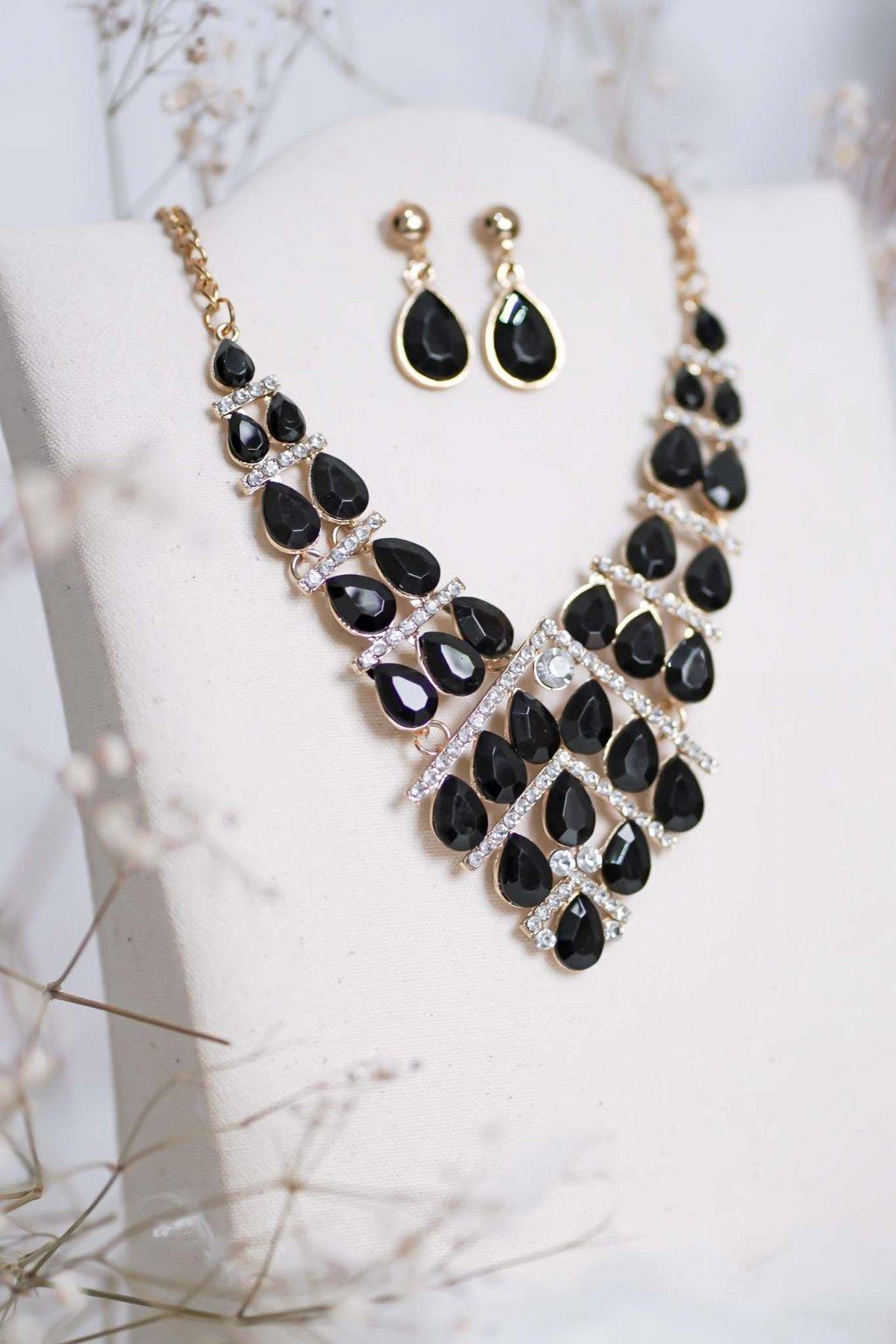 náhrdelník, spoločenský, bežný deň, kamienkový, farebný, čierny, strieborný, zelený, cyklamenévy, náhrdelník, bižuteria, šperk, šperky, ples, stužková, svadba, 064