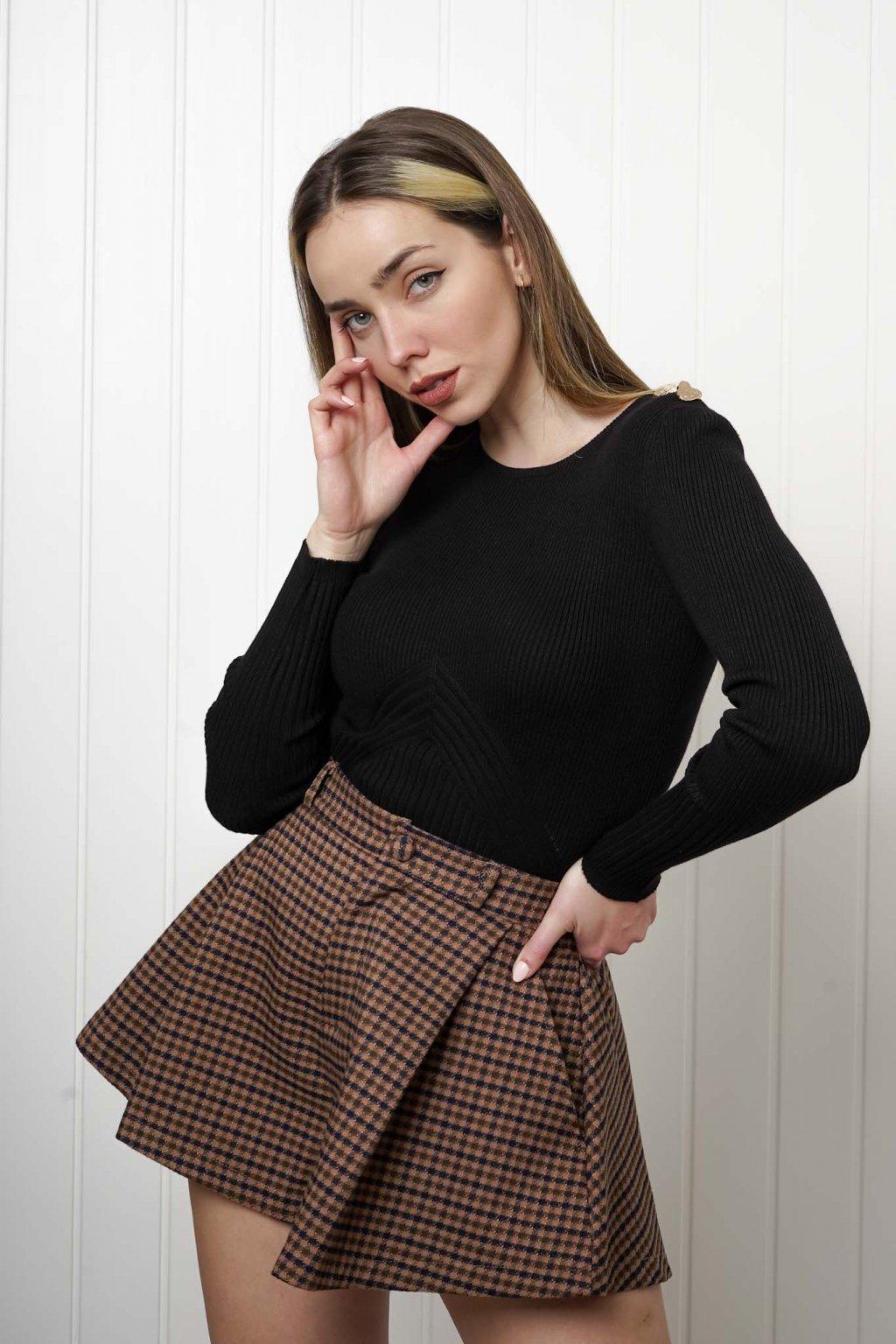 svetrík, pulover, čierny, zlaty, obtiahnutý, vrubkovaný 6