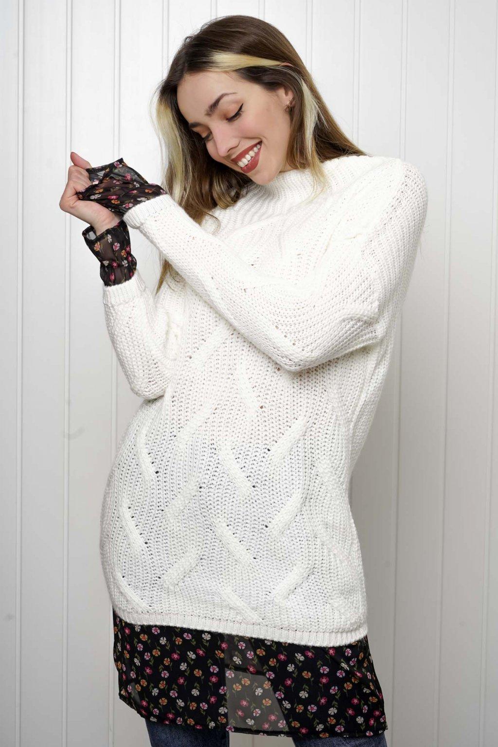 svetrík, pulover, čierny, zlaty, obtiahnutý, vrubkovaný 11