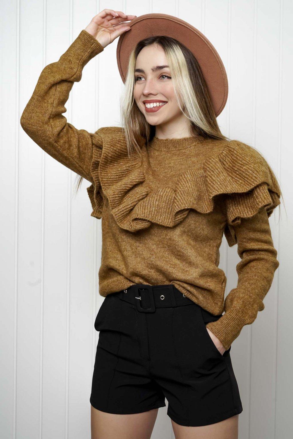 svetrík, pulover, čierny, zlaty, obtiahnutý, vrubkovaný 25