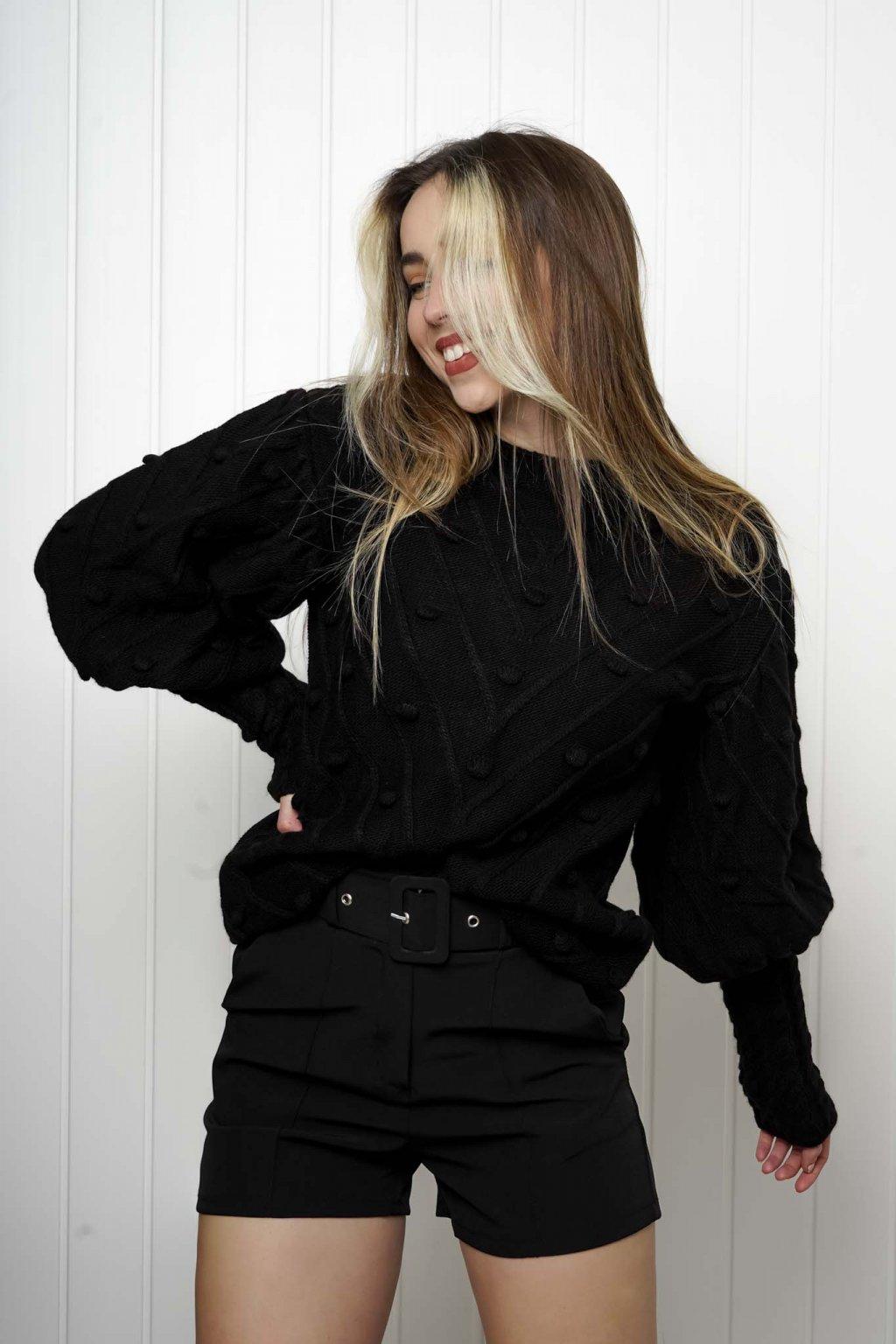 svetrík, pulover, čierny, zlaty, obtiahnutý, vrubkovaný 38