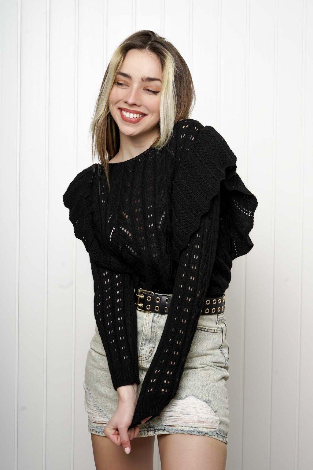 svetrík, pulover, čierny, zlaty, obtiahnutý, vrubkovaný 51