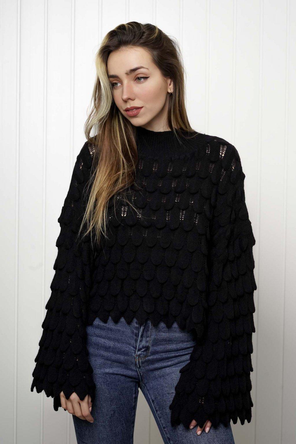 svetrík, pulover, čierny, zlaty, obtiahnutý, vrubkovaný 097