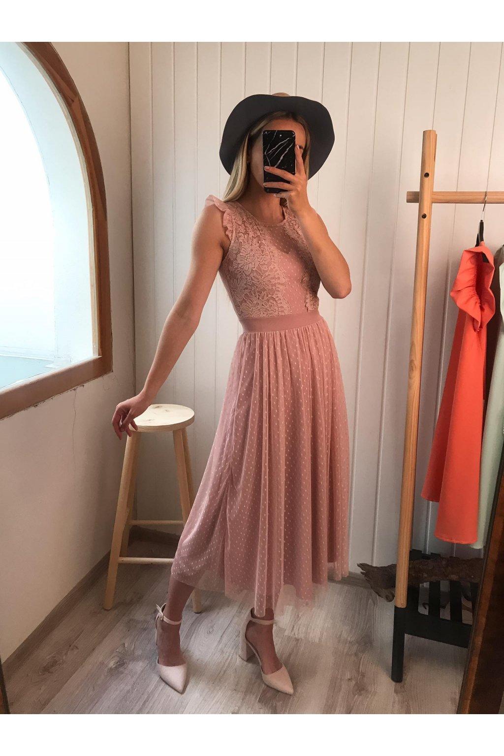 Ružové tylové šaty, spoločenské šaty, s krajkou, midi šaty, elegantné šaty, sieťkované šaty, cribs, prešov hlavná 120, Bardejov, módny butik (1)