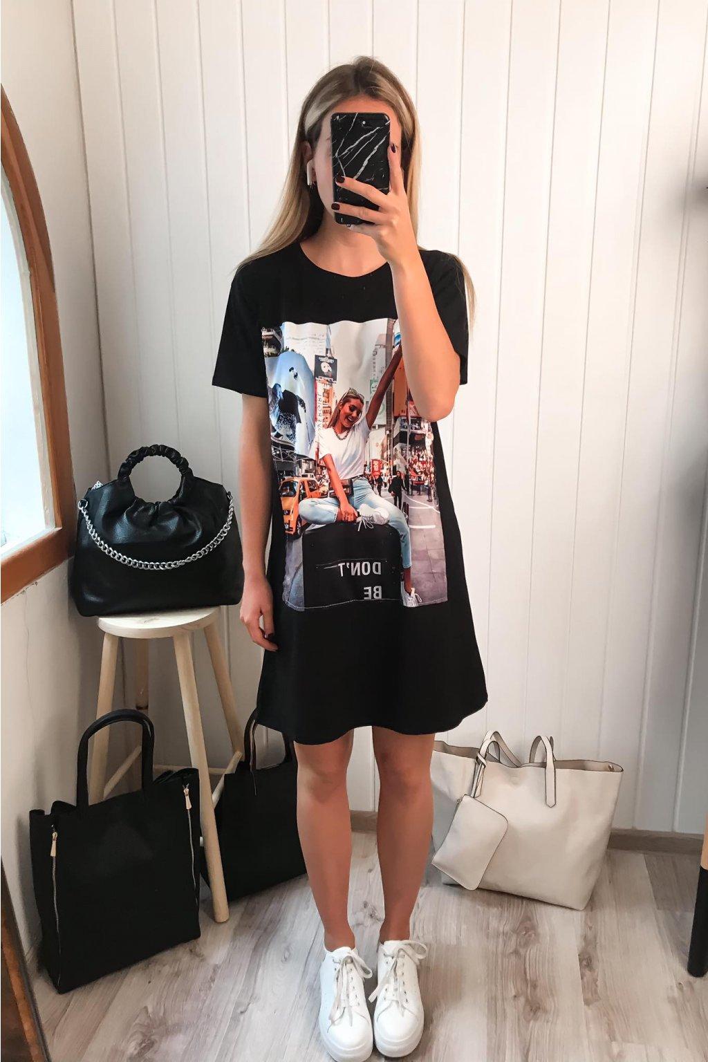 Čierne predĺžené tričko, tričko s potlačou, tričkové šaty, bavlnené tričko, cribs.sk, butik prešov, Hlavná 120, Bardejov, trendy, štýlové dlhé tričko , tričko s dizajnom, new york tričko (2)