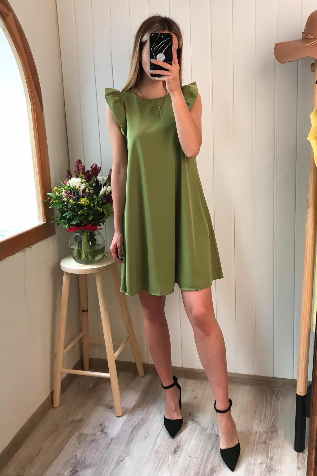 Zelené šaty s volánikom, volánikové šaty, áčkové šaty, spoločenské, elegantné, letné šaty, cribs, Prešov, Bardejov (3)