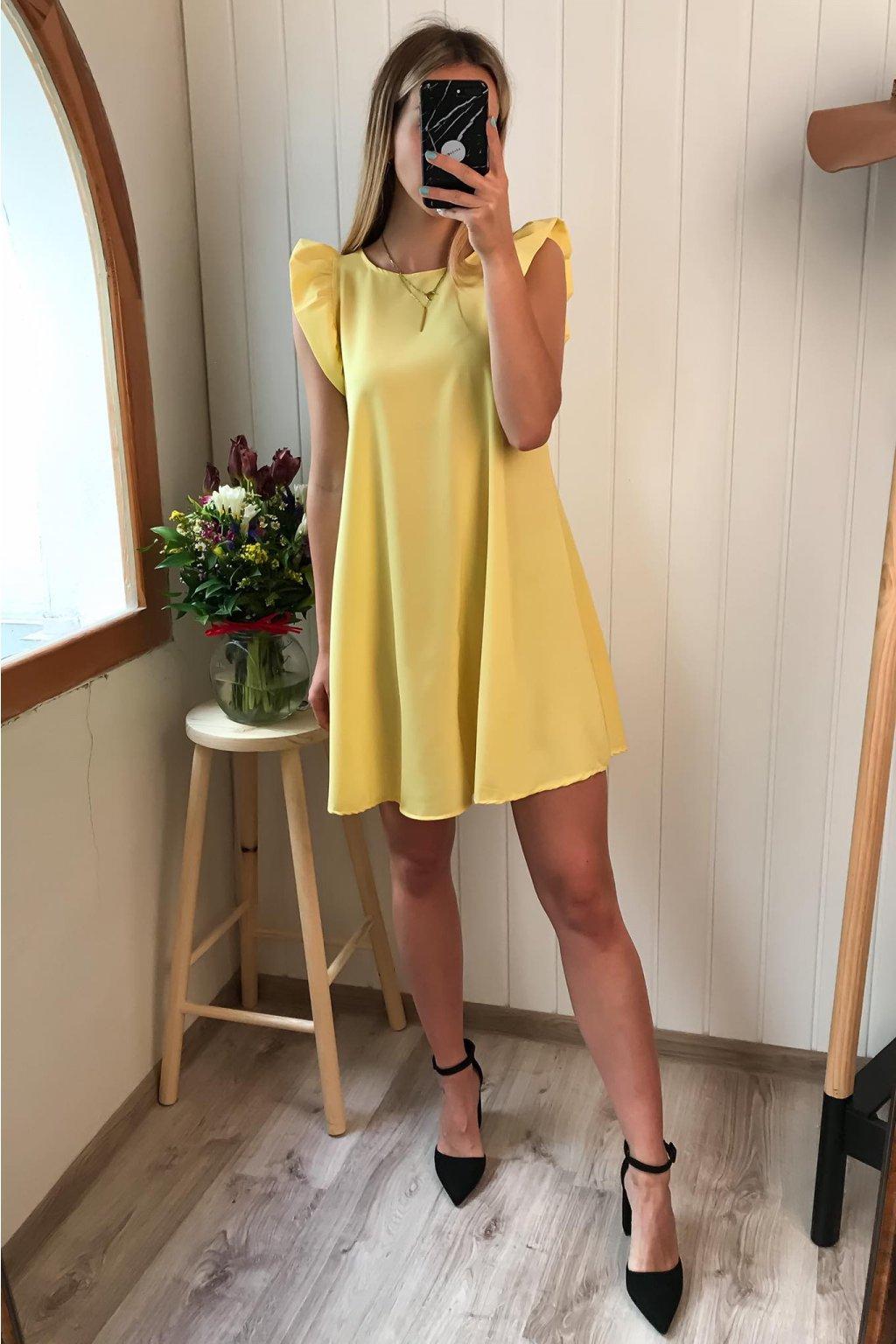 Žlté šaty s volánikom, spoločenské šaty, elegantné, letné šaty, svetlé šaty na príležitosť, šaty na oslavu, cribs Prešov, cribs Bardejov (1)
