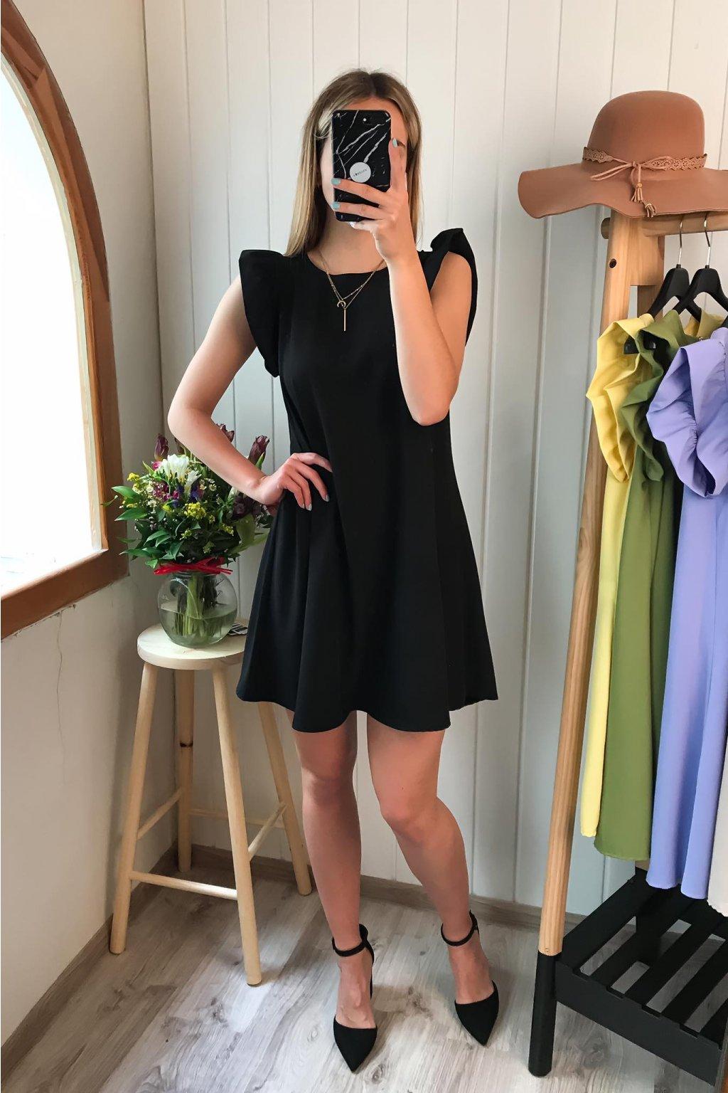 Čierne šaty s volánikmi, volánikové šaty, spoločenské šaty, elegantné šaty, letné šaty, cribs Bardejov, cribs Prešov, dámsky butik (2)