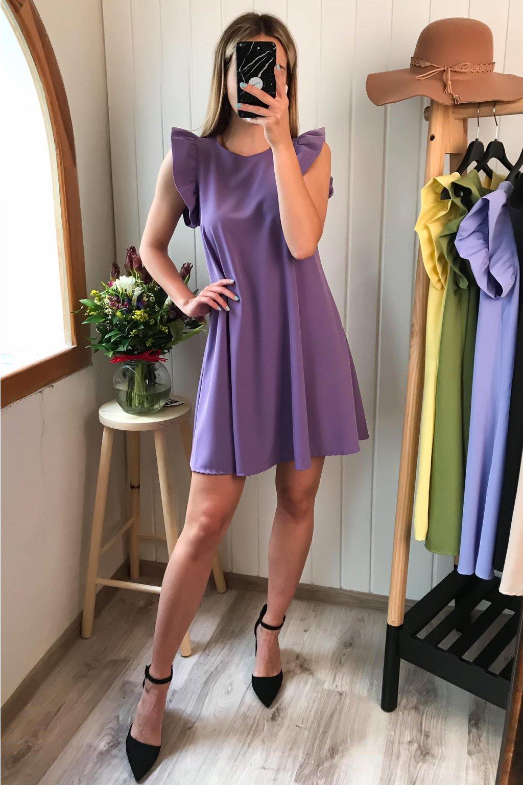 Fialové šaty s volánikmi, sýto fialové, spoločenské, elegantné, letné šaty, cribs Bardejov, cribs Prešov, dámsky butik (1)