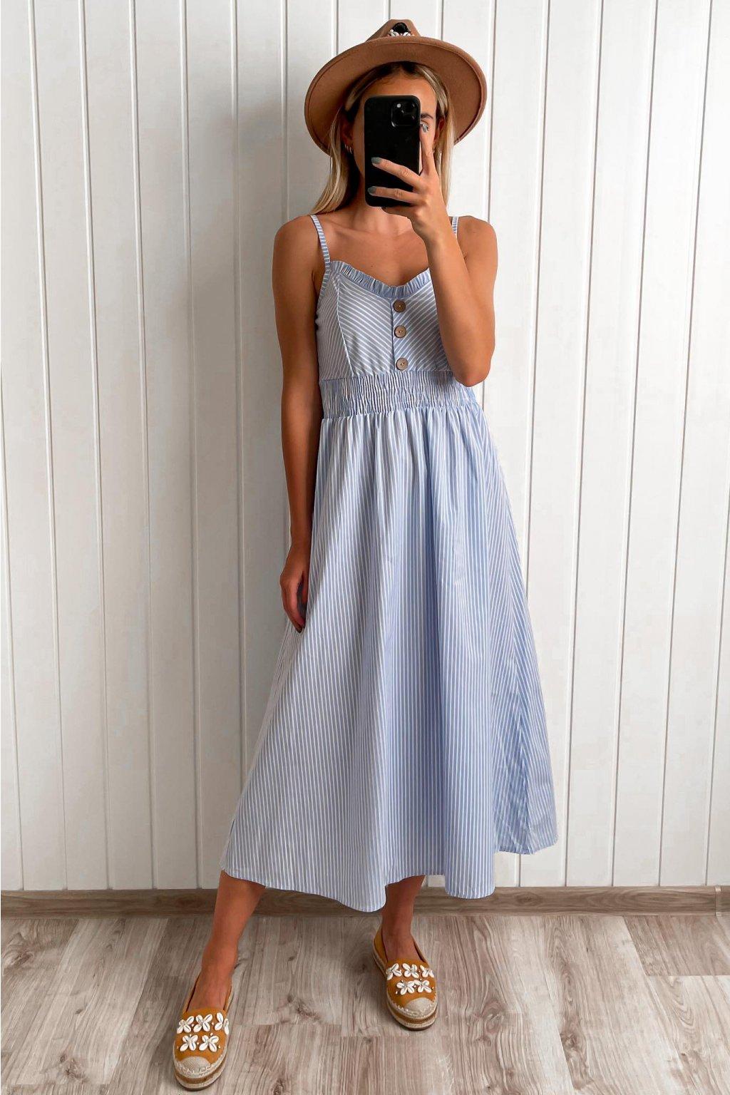 Letné pruhované šaty, bielomodré šaty, bavlnené šaty, šaty s gombíkmi, šaty na ramienka, šaty cribs, bardejov, prešov hlavná 120 (8)