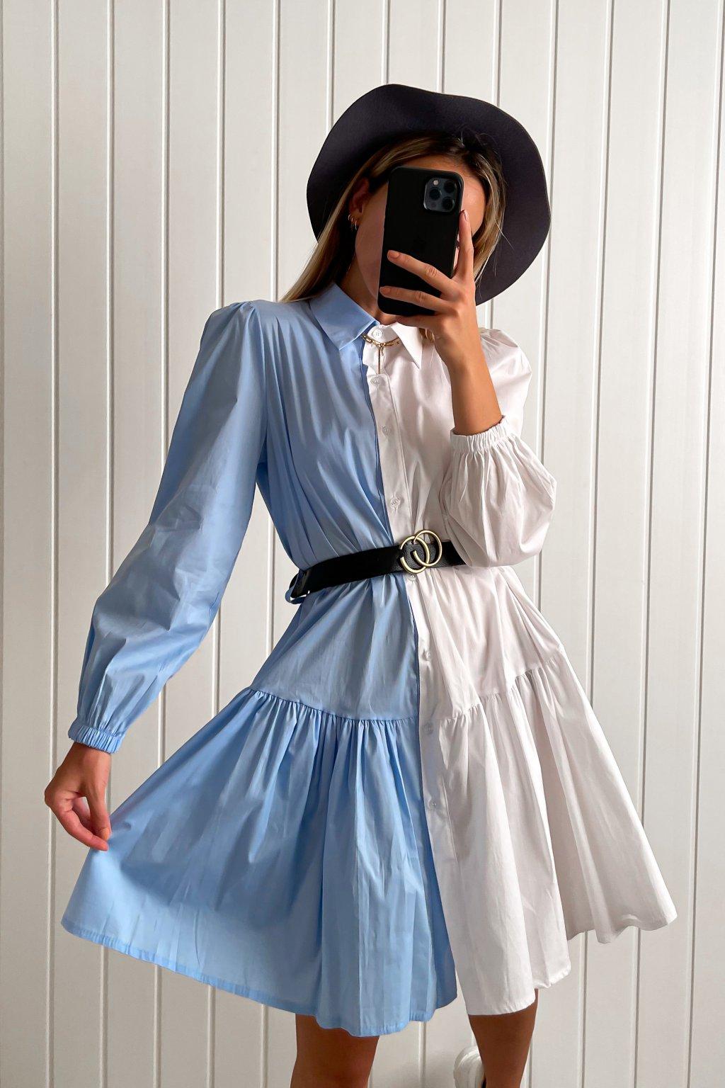 Košeľové šaty dvojfarebné