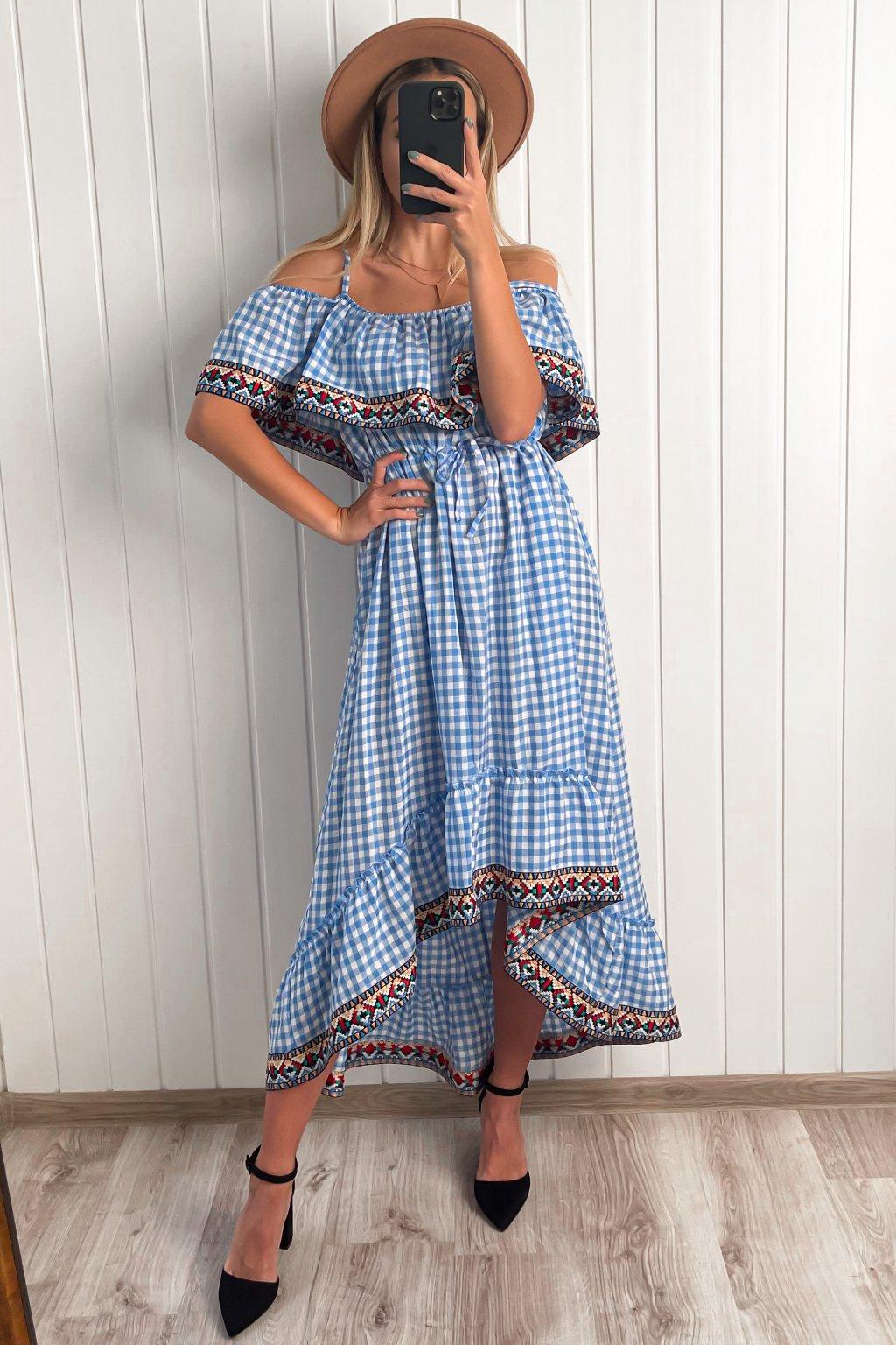 Modré bavlnené šaty s aztéckym lemom