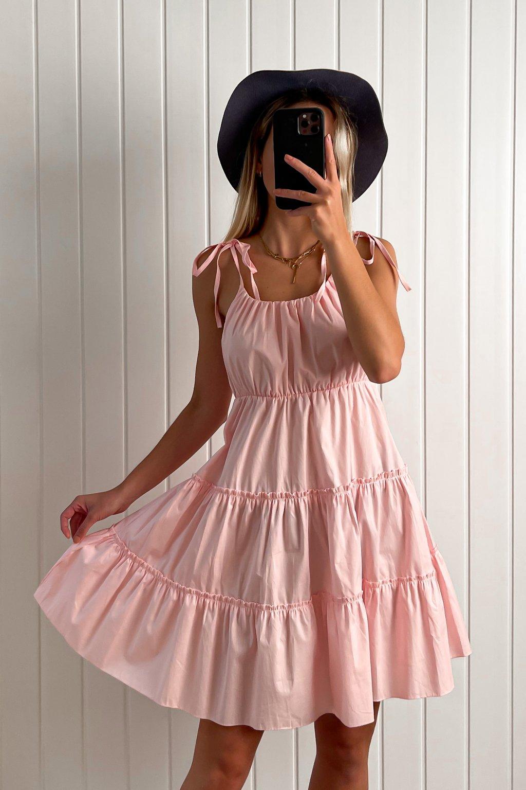 Bavlnené ružové šaty